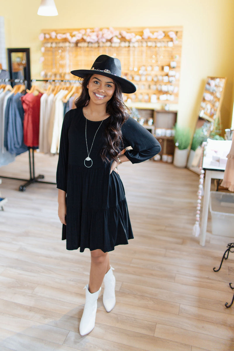 Black Knit 3/4 Sleeve Tiered Dress