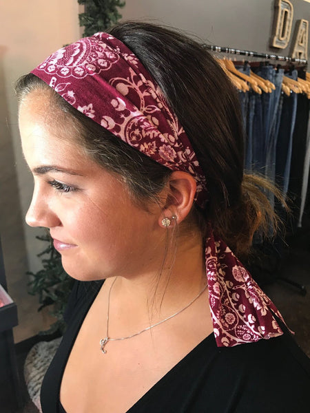 Maroon Paisley- Give by Grace Headband