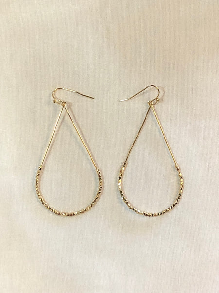 Gold Teardrop Beaded Earrnings