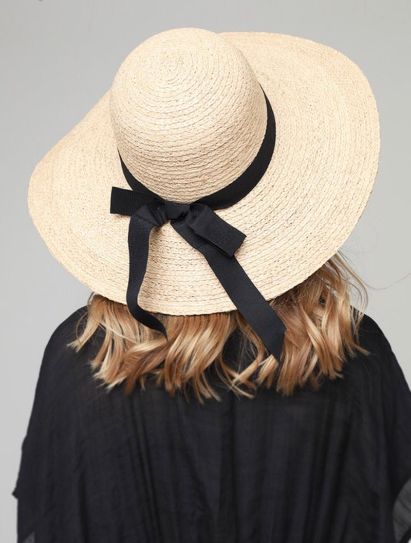 Natural Sun Hat with Black Bow