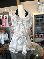 Cream and Black Striped Flutter Sleeve Romper