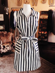 Navy Striped Collar Sleeveless Dress