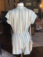 Sage Collared Striped Romper