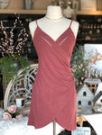 Mauve Wrap Dress with Buttons