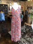 Coral Maxi Dress with Print