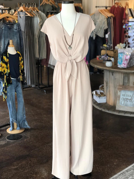 Taupe SS Tie Front Jumpsuit