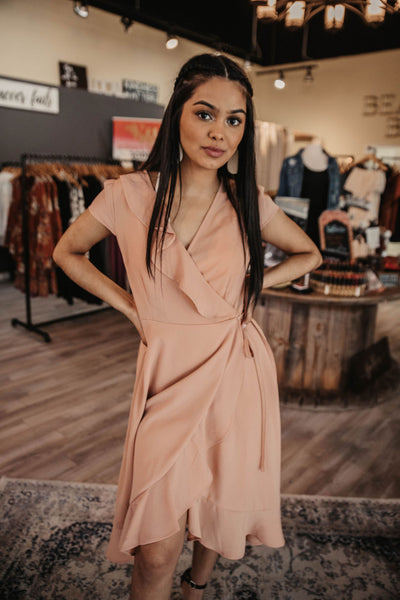 Taupe Wrap Ruffle Midi Dress