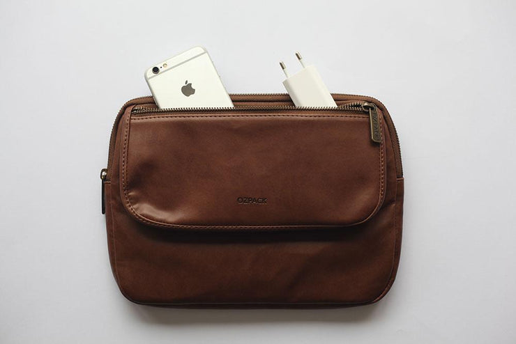 Ozpack Executive Dark Brown Tablet Bag Front
