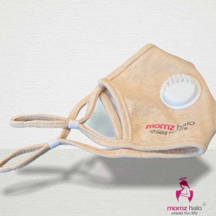 Super soft Organic Cotton Air Valve face mask with pocket for PM2.5 filter. Activated carbon.Washable & adjustable. Designed in Canada. - momZ Halo