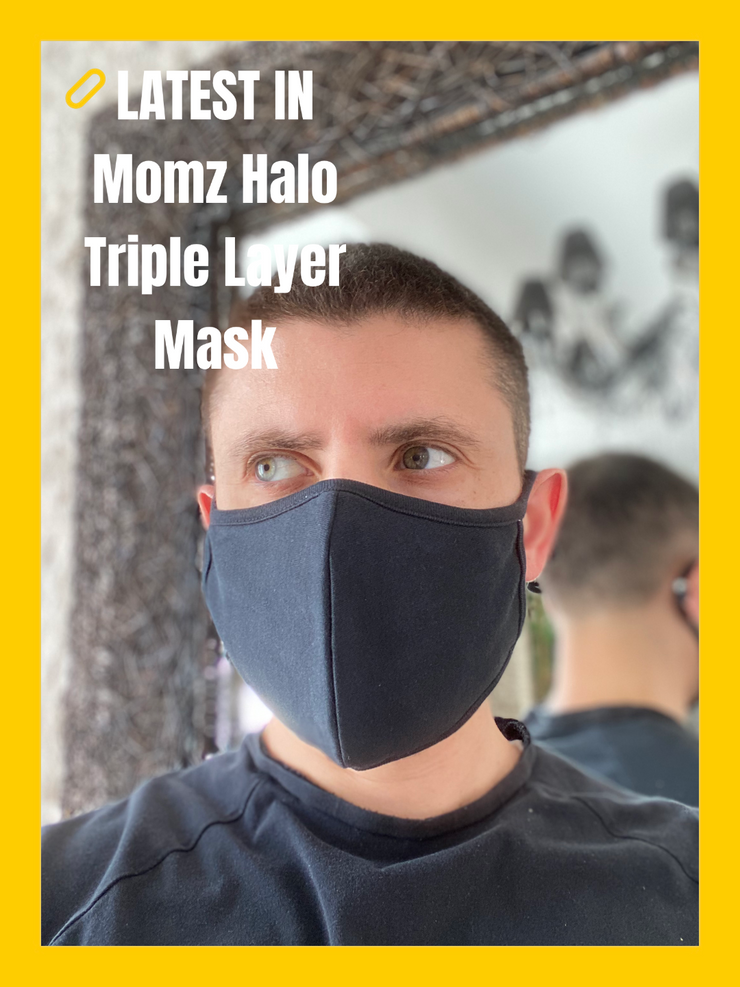 Momz Halo Triple layer organic mask with inner pocket. Adult size - momZ Halo
