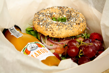 Individual packed lunch with a bagel