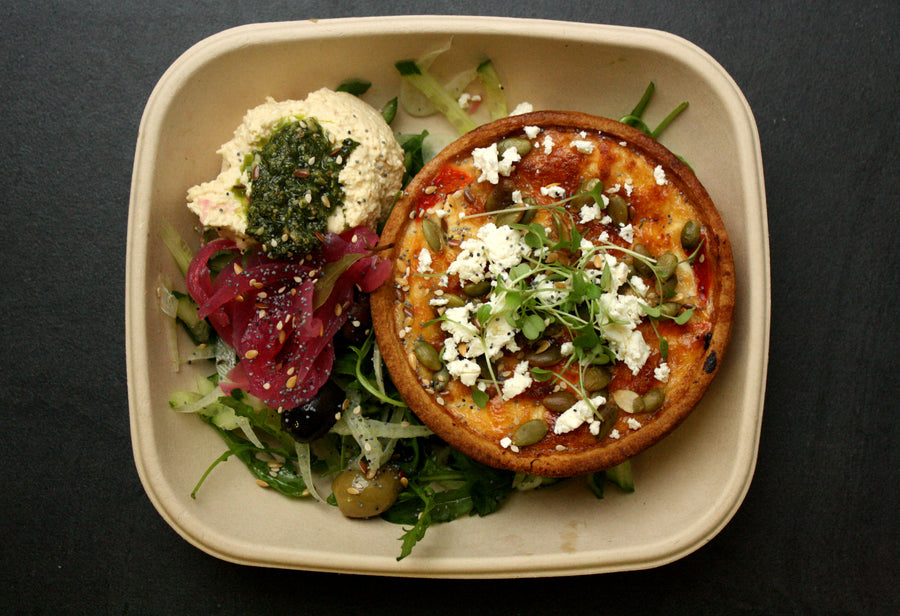 Roasted red pepper & goats cheese tart salad