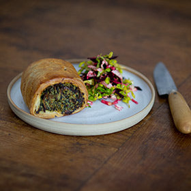 Spinach, Egg and Maris Peer Sausage roll