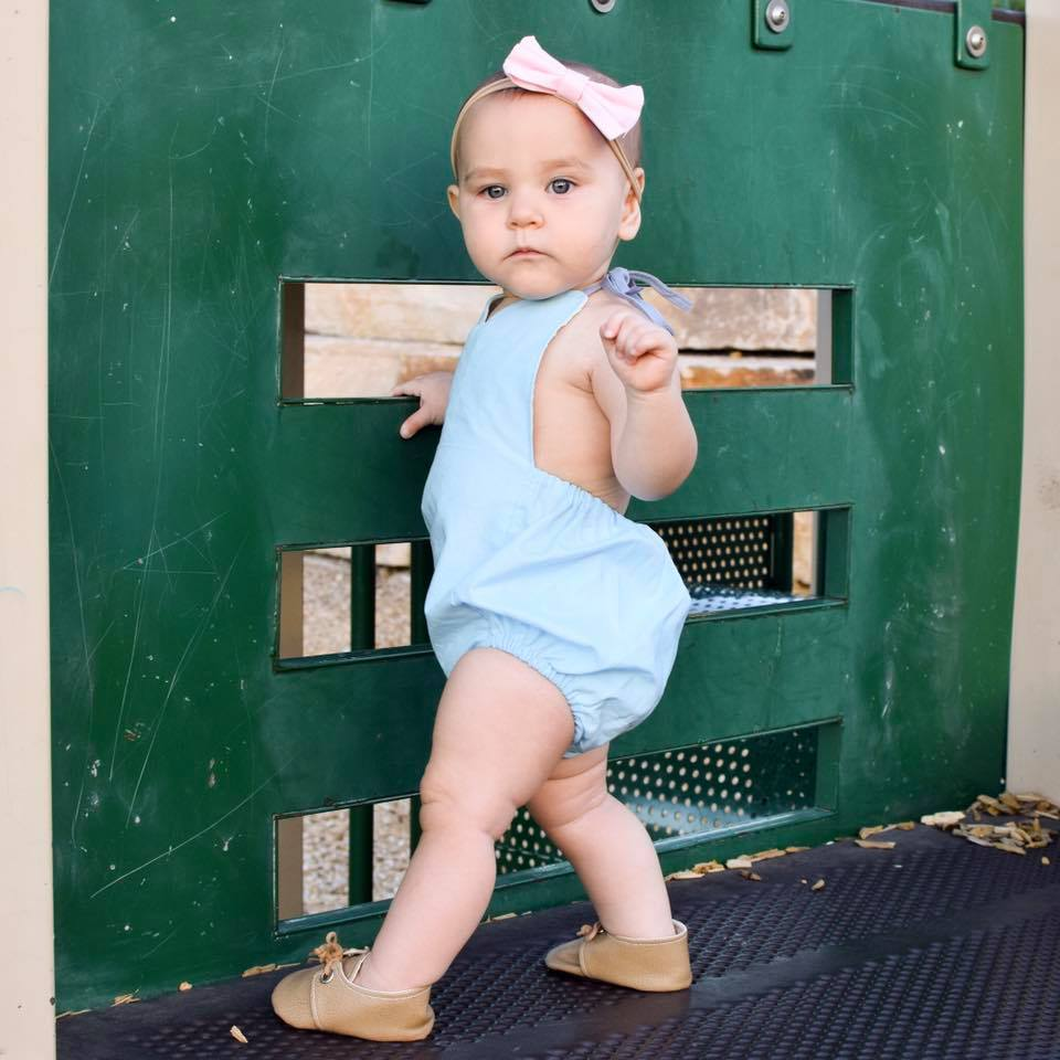 Baby Blue Solid Romper