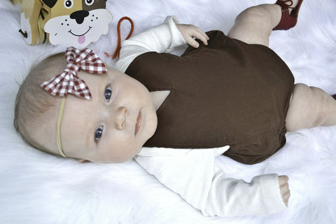 Brown vneck sunsuit,romper,bubble