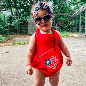 Red Solid Kole Romper