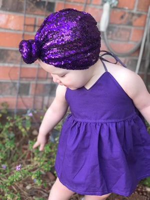 Purple Solid Peplum