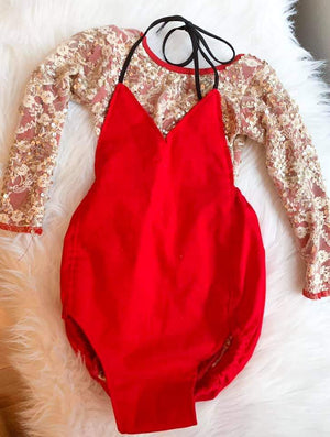 Red Solid Romper
