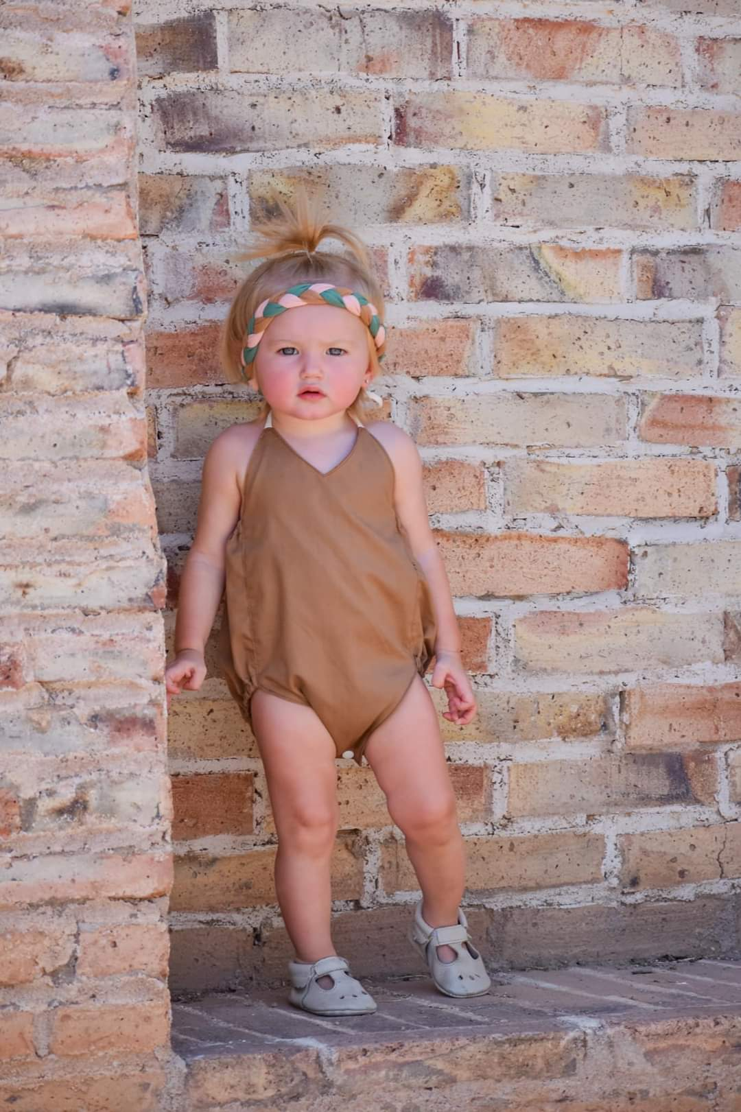 Chestnut Solid Romper