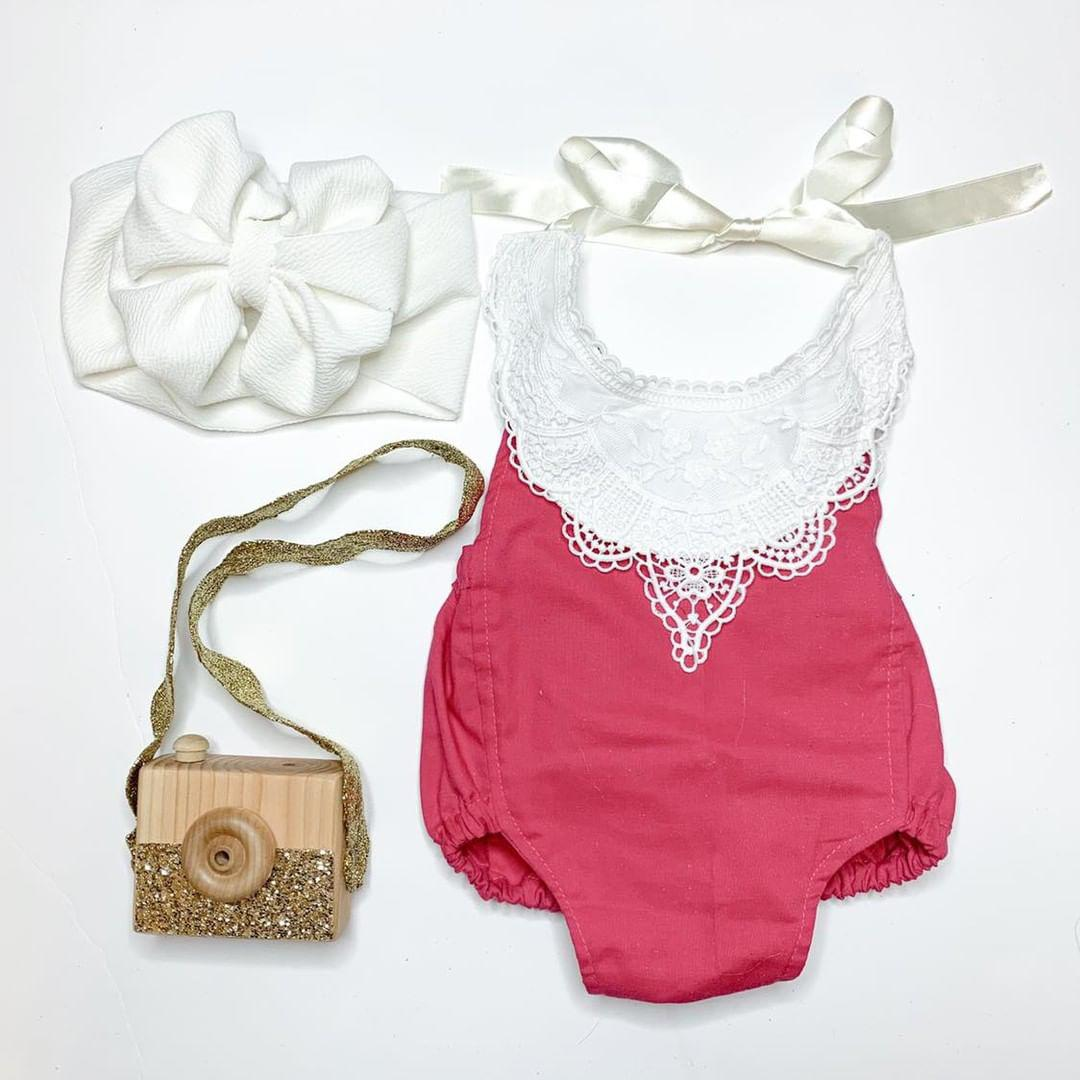 Hot Pink Solid Romper