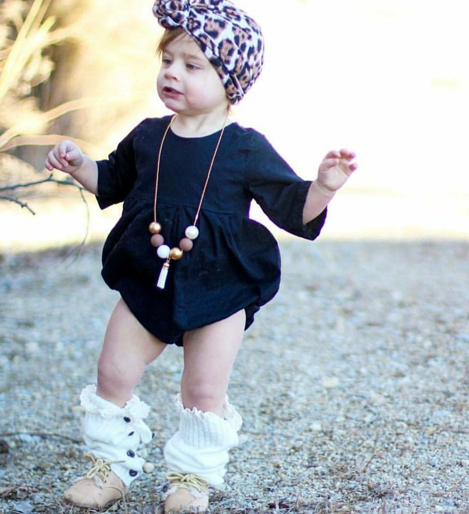 black sleeveless jumper bubble vintage style for baby girl