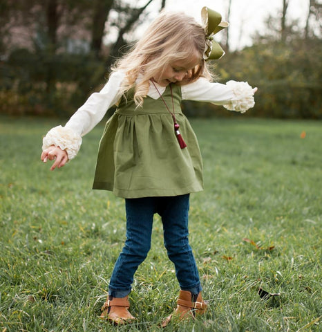 Olive Peplum Tunic, baby girl, boutique shirt, army green