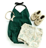 Dark Green Solid Romper