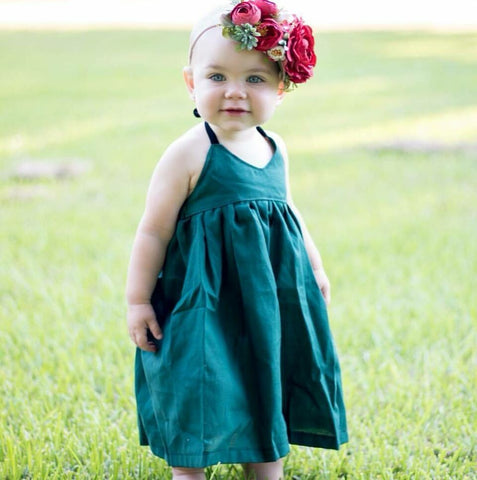 Dark Green Solid Halter Dress