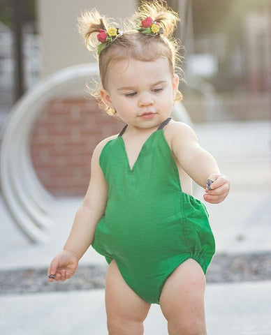 Kelly Green Solid Romper