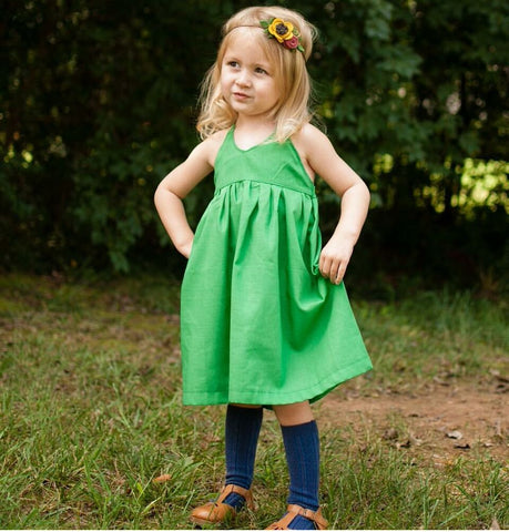 Kelly Green Solid Halter Dress