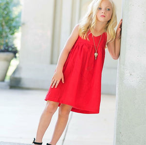 Red Solid Halter Dress