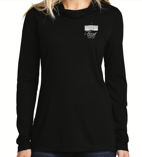 First Family Black Long Sleeve Hooded T-Shirt with Logo