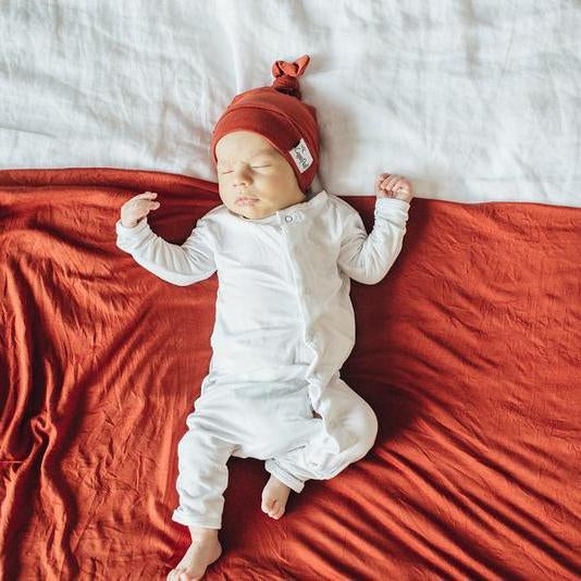 Knit Swaddle Blanket-Rust