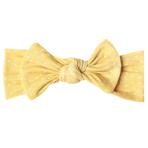 Copper Pearl-Knit Headband Bow-Marigold