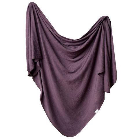 Knit Swaddle Blanket-Plum