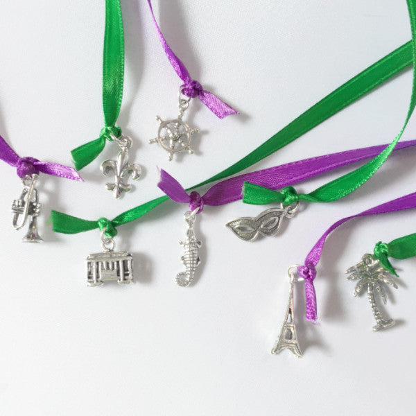 sterling New Orleans themed wedding cake pull charms, 8 pieces