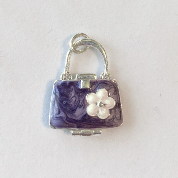 Purple enamel sterling purse charm with flower acccent