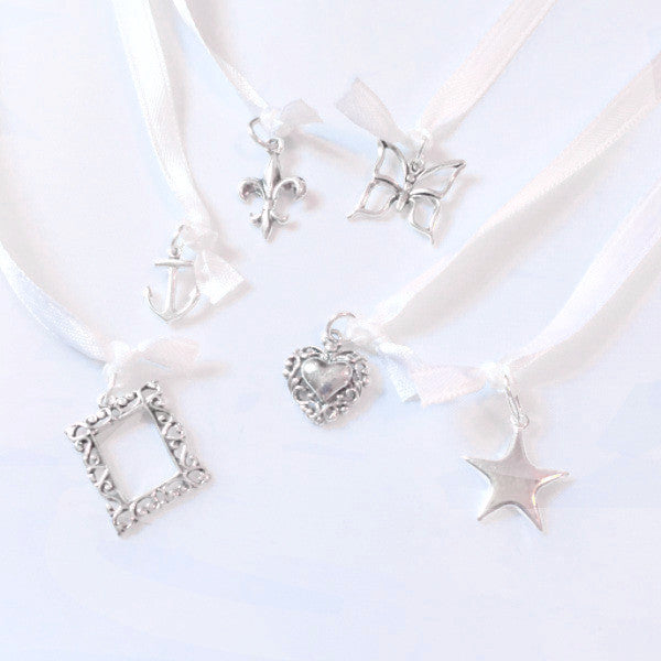 Wedding Cake Pull Charms, 6 Pieces, Sterling Silver