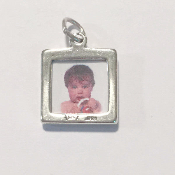 Sterling silver square photo holder charm