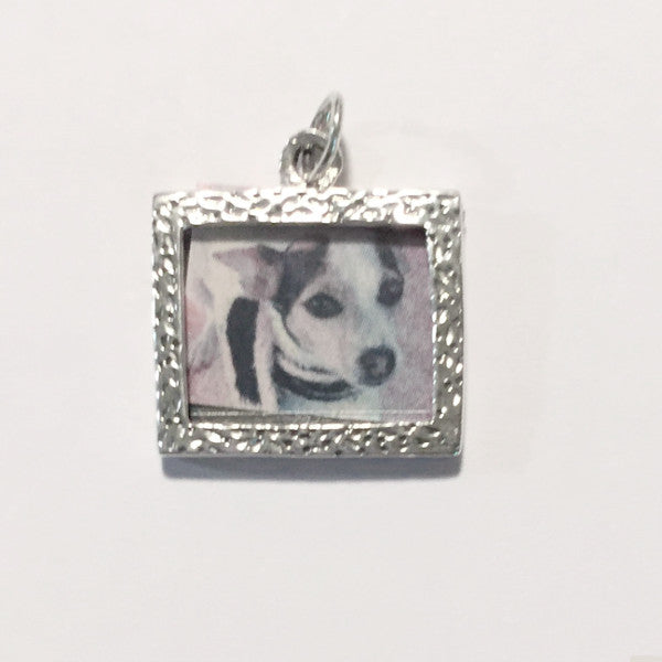 Sterling silver rectangular photo holder charm
