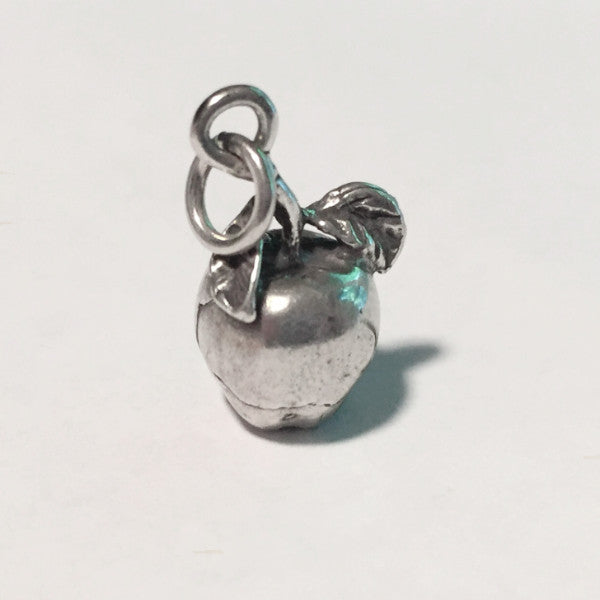 Solid sterling silver apple charm