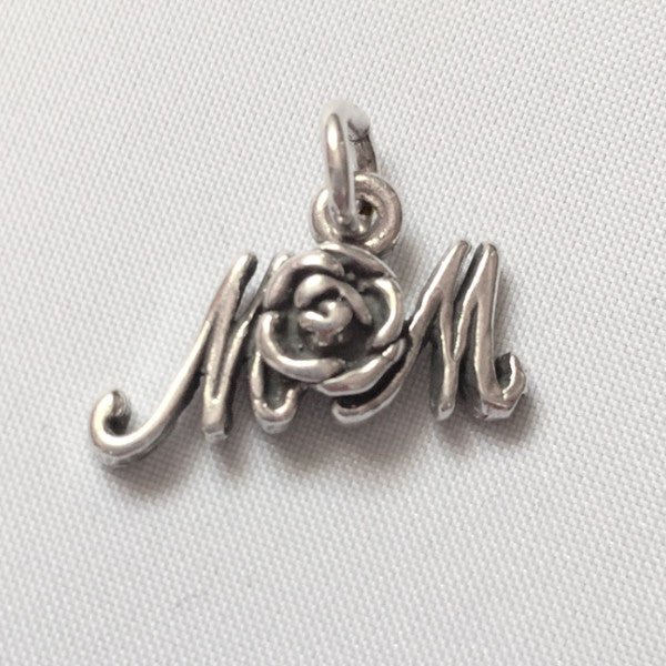 Sterling silver mom with rose charm