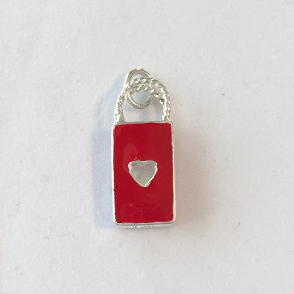 Red Enamel Sterling Silver Shopping Tote Bag Charm
