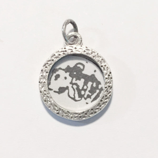 Circular sterling silver photo frame charm