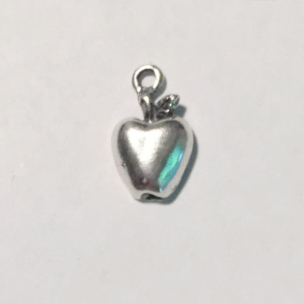 sterling silver apple charm, flat with open back