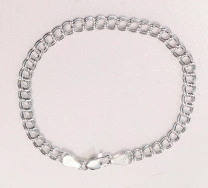 "Sterling Silver Traditional Double-Link Charm Bracelet, Small (3/16"") Links"