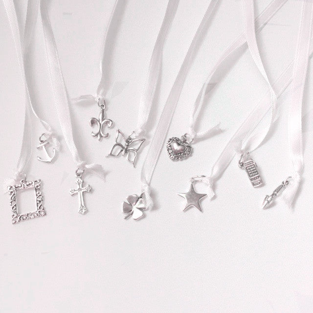 Wedding Cake Pull Charms, 10 Pieces, Sterling Silver