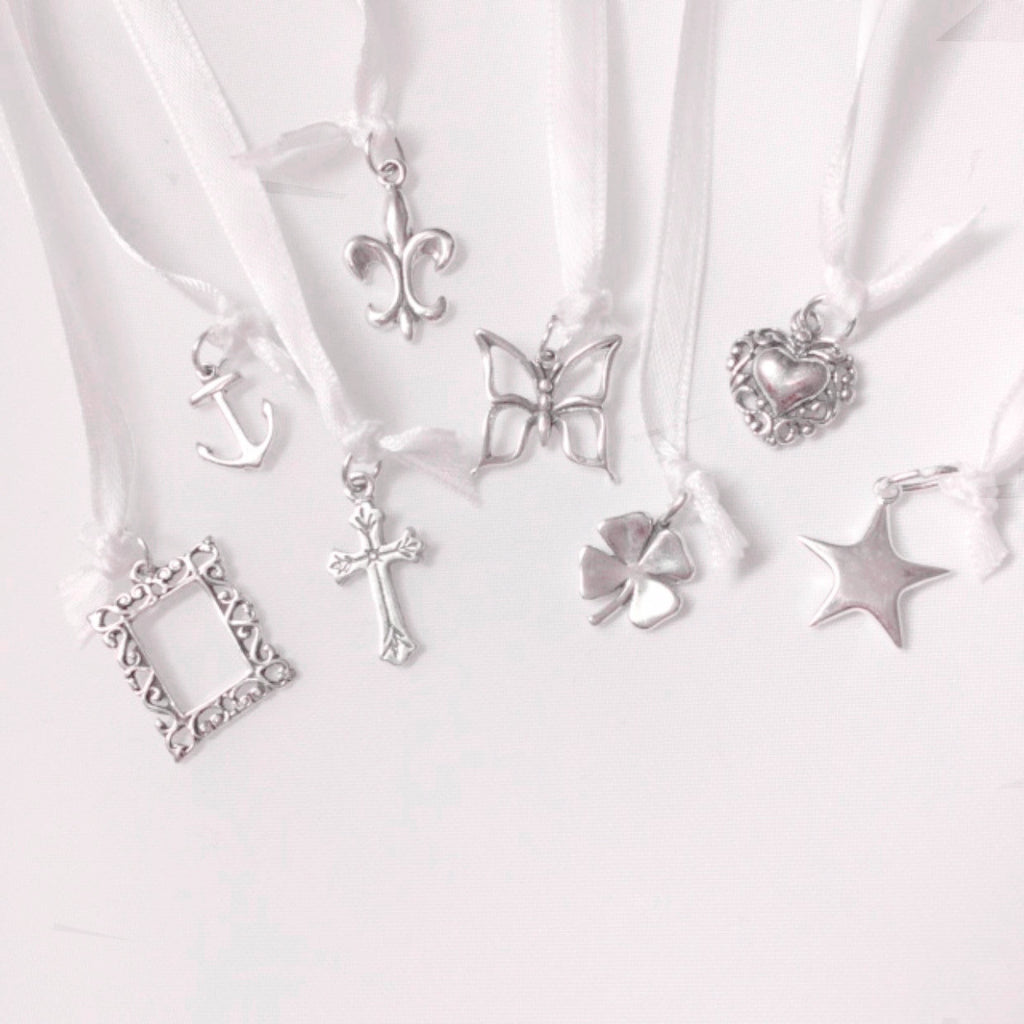 Wedding Cake Pull Charms, 8 Pieces, Sterling Silver
