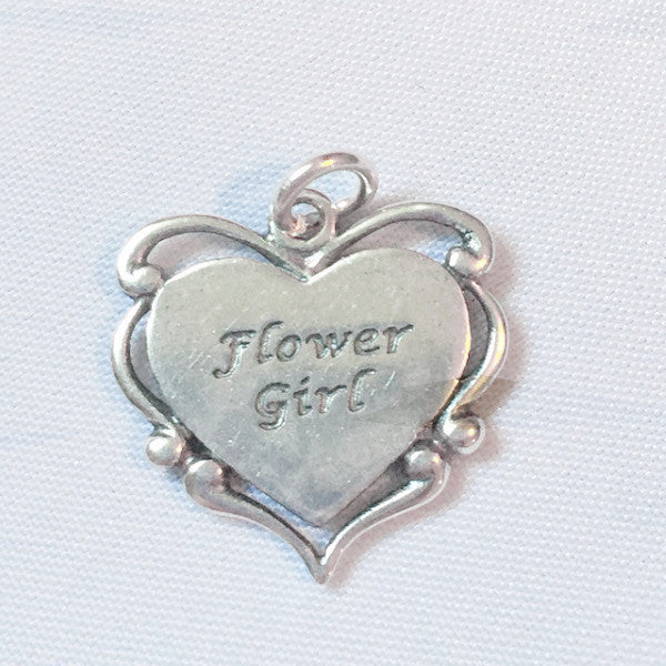 Sterling silver flower girl charm modern