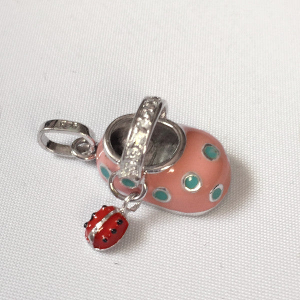 Sterling silver and enamel pink baby shoe charm